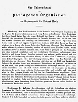 0047572 © Granger - Historical Picture ArchiveROBERT KOCH: PAPER, 1881.   The first page of Robert Koch's paper on his method of obtaining pure cultures of micro-organisms by 'plating' nutrient media containing gelatin. Published at Berlin, Germany, 1881.