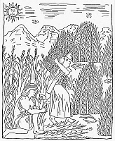 0001344 © Granger - Historical Picture ArchiveINCA HARVESTING, c1583.   Incan farmers harvesting  the corn crop. Pen and ink drawing from 'El primer nueva cronica y buen gobierno' ('The first new chronicle and good government'), 1583-1615, by Felipe Guaman Poma de Ayala.