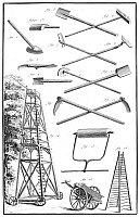 0005021 © Granger - Historical Picture ArchiveGARDEN TOOLS.   Equipment for pruning and other gardening tasks. Copper engraving, French, 18th century.