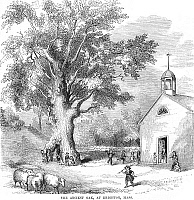 0057701 © Granger - Historical Picture ArchiveTHE ANCIENT OAK.   The ancient oak at Brighton, Massachusetts. Wood engraving, American, 1853.