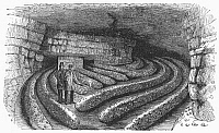 0091065 © Granger - Historical Picture ArchiveBOTANY: MUSHROOM CAVE.   Mushroom cave, seventy feet beneath the surface, at Montrouge, near Paris, France. Line engraving, 1875.
