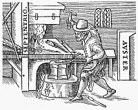 0104732 © Granger - Historical Picture ArchiveMAGNETIZING IRON, 1600.   A blacksmith hammering a heated iron bar to be magnetized, with its ends pointing towards the magnetic north and south poles. Woodcut from William Gilbert's 'De Magnete,' London, 1600.