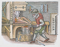 0104733 © Granger - Historical Picture ArchiveMAGNETIZING IRON, 1600.   A blacksmith hammering a heated iron bar to be magnetized, with its ends pointing towards the magnetic north and south poles. Woodcut from William Gilbert's 'De Magnete,' London, 1600.