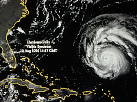 0184552 © Granger - Historical Picture ArchiveHURRICANE FELIX, 1995.   Weather satellite image of Hurricane Felix in the Atlantic Ocean, 12 August 1995. Visible spectrum image.