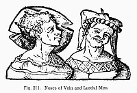 0097061 © Granger - Historical Picture ArchivePHYSIOGNOMY, 1533.   Noses of vain and lustful men. Woodcut, 1533, from Bartolommeo Cocles' 'Physiognomonia.'