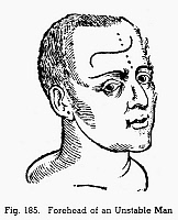 0097077 © Granger - Historical Picture ArchivePHYSIOGNOMY, 1648.   Forehead of an unstable man. Woodcut, 1648, from Philippus Phinella's 'Metoposcopia'.