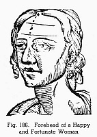 0097078 © Granger - Historical Picture ArchivePHYSIOGNOMY, 1648.   Forehead of a happy and fortunate woman. Woodcut, 1648, from Philippus Phinella's 'Metoposcopia'.