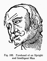 0097080 © Granger - Historical Picture ArchivePHYSIOGNOMY, 1648.   Forehead of an upright man and intelligent man. Woodcut, 1648, from Philippus Phinella's 'Metoposcopia.'
