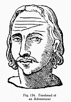 0097085 © Granger - Historical Picture ArchivePHYSIOGNOMY, 1637.   Forehead of an adventurer. Woodcut, 1637, from Ciro Spontini's 'Metoposcopia.'