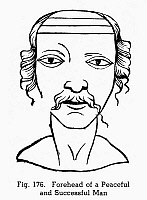 0097088 © Granger - Historical Picture ArchivePHYSIOGNOMY, 1658.   Forehead of a peaceful and successful man. Woodcut, 1658, from Hieronymus Cardanus' 'Metoposcopia.'