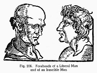 0097095 © Granger - Historical Picture ArchivePHYSIOGNOMY, 1533.   Foreheads of a liberal man (left) and of an irascible man. Woodcut, 1533, from Bartolommeo Cocles' 'Physiognomonia.'