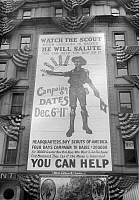 0322625 © Granger - Historical Picture ArchiveNEW YORK: BOY SCOUTS.   Billboard for a Boy Scouts fundraising campaign in New York City. Photograph, early 20th century.