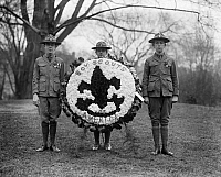 0322691 © Granger - Historical Picture ArchiveBOY SCOUTS, 1924.   A group of Boy Scouts with a decorative wreath. Photograph, 1924.