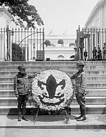 0322778 © Granger - Historical Picture ArchiveBOY SCOUTS, 1924.   American Boy Scouts presenting a decorative wreath in memory of Calvin Coolidge, Jr., who had died two days previous. Photograph, 9 July 1924.