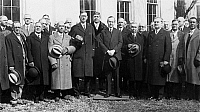 0108146 © Granger - Historical Picture ArchiveCOOLIDGE: FREEMASONS, 1929.   Grand Masters of Masons in Washington for a conference posing with President Calvin Coolidge, outside the White House, 19 February 1929.