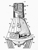 0123910 © Granger - Historical Picture ArchiveSPACE CAPSULE, 1963.   Engraved patent drawing, 1963, for a space capsule developed by Dr. Maxine A. Faget and his team for the NASA space program.