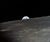 0184591 © Granger - Historical Picture ArchiveAPOLLO 10: EARTHRISE, 1969.   A view of the earth rising over the moon's horizon. Photographed from the Apollo 11 spacecraft, 1969.