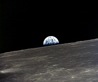 0184593 © Granger - Historical Picture ArchiveAPOLLO 10: EARTHRISE, 1969.   A view of the earth rising over the moon's horizon. Photographed from the Apollo 11 spacecraft, 1969.