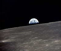 0184594 © Granger - Historical Picture ArchiveAPOLLO 10: EARTHRISE, 1969.   A view of the earth rising over the moon's horizon. Photographed from the Apollo 11 spacecraft, 1969.