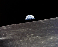 0184596 © Granger - Historical Picture ArchiveAPOLLO 10: EARTHRISE, 1969.   A view of the earth rising over the moon's horizon. Photographed from the Apollo 11 spacecraft, 1969.