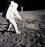 0184664 © Granger - Historical Picture ArchiveAPOLLO 11 LANDING, 1969.   Astronaut Edwin 'Buzz' Aldrin taking a soil sample from the surface of the moon. Photographed by Neil Armstrong, 1969.