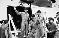 0184968 © Granger - Historical Picture ArchiveAPOLLO 13: RESCUE, 1970.   Astronauts Fred Haise, James Lovell and John Swigert, the crew of the Apollo 13, aboard the USS Iwo Jima following splashdown in the South Pacific. Photograph, 1970.
