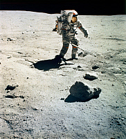 0185168 © Granger - Historical Picture ArchiveAPOLLO 16: LUNAR RAKE, 1972.   Astronaut John Young collecting samples with a lunar rake near North Ray Crater during the Apollo 16 mission, 23 April 1972. Photographed by astronaut Charles M. Duke.