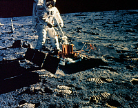 0185736 © Granger - Historical Picture ArchiveAPOLLO 11, 1969.   Astronaut Edwin 'Buzz' Aldrin deploying the Passive Seismic Experiments Package (PSEP) on the surface of the moon during the Apollo 11 mission, 20 July 1969. Photographed by astronaut Neil Armstrong.