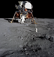 0268339 © Granger - Historical Picture ArchiveAPOLLO 11, 1969.   Astronaut Edwin E. Aldrin Jr. on the surface of the moon during the Apollo 11 extravehicular activity; a 35mm stereo close-up camera is in the foreground. Photograph by Neil Armstrong, 20 July 1969.