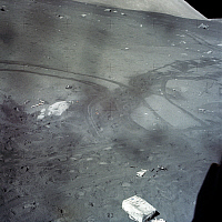 0322134 © Granger - Historical Picture ArchiveAPOLLO 17: MOON, 1972.   Tracks from the Lunar Rover and boot prints on the surface of the moon, during the Apollo 17 mission. Photograph, December 1972.