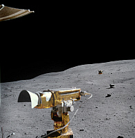 0322146 © Granger - Historical Picture ArchiveAPOLLO 16, 1972.   The RCA color television camera mounted on the Lunar Roving Vehicle, and the lunar landscape in the distance. Photograph, 22 April 1972.