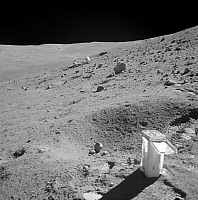 0322280 © Granger - Historical Picture ArchiveAPOLLO 16: MOON, 1972.   The Apollo 16 Lunar Roving Vehicle on the slope of Stone Mountain on the moon; a soil sample collection bag is in the foreground. Photograph, April 1972.