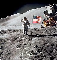 0322386 © Granger - Historical Picture ArchiveAPOLLO 15: MOON, 1971.   Astronaut David R. Scott, saluting the flag during the Apollo 15 lunar surface extravehicular activity at the Hadley-Apennine landing site. Photograph, 1 August 1971.