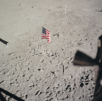 0322549 © Granger - Historical Picture ArchiveAPOLLO 11: FLAG, 1969.   The American flag left on the surface of the moon by Apollo 11 astronauts Neil Armstrong and Edwin 'Buzz' Aldrin. Photograph, 20 July 1969.