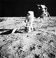 0016722 © Granger - Historical Picture ArchiveAPOLLO 11, 1969.   Astronaut Edwin 'Buzz' Aldrin deploying the Passive Seismic Experiments Package (PSEP) on the surface of the moon during the Apollo 11 mission, 20 July 1969. Between Aldrin and the lunar module, at left, is the already-deployed Laser Ranging Retro-Reflector (LR3). Photographed by astronaut Neil Armstrong.