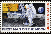 0022638 © Granger - Historical Picture ArchiveFIRST MAN ON THE MOON.   U.S. commemorative postage stamp, 1969.