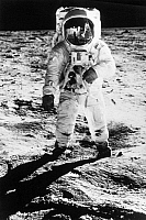 0052695 © Granger - Historical Picture ArchiveAPOLLO 11: BUZZ ALDRIN.   Edwin 'Buzz' Aldrin standing on the moon, 20 July 1969. Neil Armstrong, who took the photo, and Eagle are reflected in Aldrin's visor.