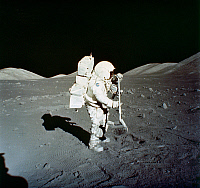 0054273 © Granger - Historical Picture ArchiveAPOLLO 17: LUNAR RAKE, 1972.   Astronaut Harrison H. 'Jack' Schmitt collecting samples with a lunar rake at the Taurus-Littrow landing site, during the Apollo 17 mission, 11 December 1972. Photographed by astronaut Eugene Cernan.