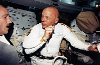 0184312 © Granger - Historical Picture ArchiveSPACE: ASTRONAUTS, 1993.   Astronaut F. Story Musgrave and Thomas D. Akers suiting up for the final spacewalk of the Hubble Space Telescope servicing mission. Photograph, 1993.