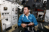 0184317 © Granger - Historical Picture ArchiveMAMORU MOHRI (1948- ).   Japanese scientist and astronaut. Photographed onboard the Space Shuttle Endeavour during the STS-47 mission, 1993.