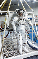 0185008 © Granger - Historical Picture ArchiveSPACE: TRAINING, 1991.   Astronaut Michael Foale shortly before underwater weightlessness training at the Johnson Space Center in Houston, Texas. Photograph, 1991.