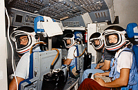 0185011 © Granger - Historical Picture ArchiveSPACE: TRAINING, 1983.   Astronauts Robert Crippen, Frederick Hauck, John Fabian and Sally Ride in the Space Shuttle simulator at the Johnson Space Center in Houston, Texas. Photograph, 1983.