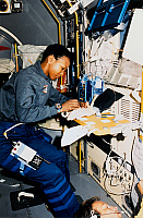 0185034 © Granger - Historical Picture ArchiveMAE JEMISON (1956- ).  American astronaut and physician. Conducting a medical test in the Spacelab-J module aboard the Space Shuttle Endeavour during the STS-47 mission. Photograph, 1992.