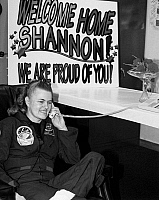 0185300 © Granger - Historical Picture ArchiveSHANNON LUCID (1943- ).   American astronaut. Photographed on the telephone with President Bill Clinton, after her record-setting 188 day spaceflight, 1996.