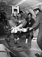 0185302 © Granger - Historical Picture ArchiveSPACE: TRAINING, 1982.   Astronauts Ulf Merbold, Wubbo Ockels, and Robert A.R. Parker in training aboard a KC-135 aircraft. Photograph, 1982.