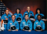 0185379 © Granger - Historical Picture ArchiveSPACE SHUTTLE CREW, 1985.   The crew of the Space Shuttle Challenger, STS-51-L. Left to right (front): Michael J. Smith, Francis Scobee, Ronald McNair (back): Ellison Onizuka, Christa McAuliffe, Gregory Jarvis, Judith Resnik. Photograph, 1985.