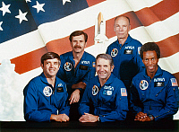 0185483 © Granger - Historical Picture ArchiveSPACE SHUTTLE CREW, 1983.   Official portrait of the crew of the Space Shuttle Challenger mission STS-8: Pilot Daniel C. Brandenstein (left), commander Richard M. Truly (center), and mission specialists (left to right) Dale A. Gardner, William E. Thornton, and Guion S. Bluford. Photographed in April 1983.