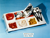 0185765 © Granger - Historical Picture ArchiveSPACE: FOOD TRAY, 1982.   Food tray containing smoked turkey, mixed vegetables, strawberries and cream of mushroom soup, prepared for astronauts aboard the Space Shuttle Columbia for mission STS-5, 1982.