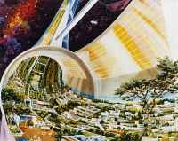 0185248 © Granger - Historical Picture ArchiveSPACE COLONY, 1975.   Design for a space colony built from materials from the Moon and asteroid belt and assembled in space using solar power. Gravity would be produced by centrifugal force. Drawing, 1975.