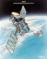 0185272 © Granger - Historical Picture ArchiveSPITZER SPACE TELESCOPE.   The Spitzer Space Telescope, formerly the Space Infrared Telescope Facility, an infrared space observatory orbiting the Sun, launched by a space shuttle in 2003. Illustration, c2003.